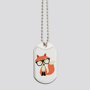 Cute Hipster Red Fox Dog Tags